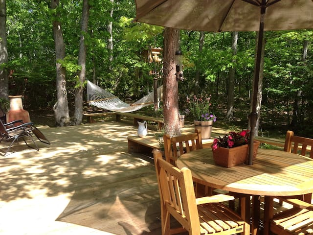 Deck overlooking private 1-acre wooded property