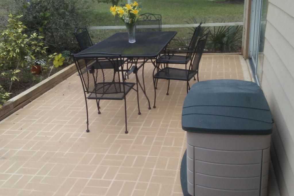 Direct access from M. Suite to patio.  Great for morning coffee or just relaxing
