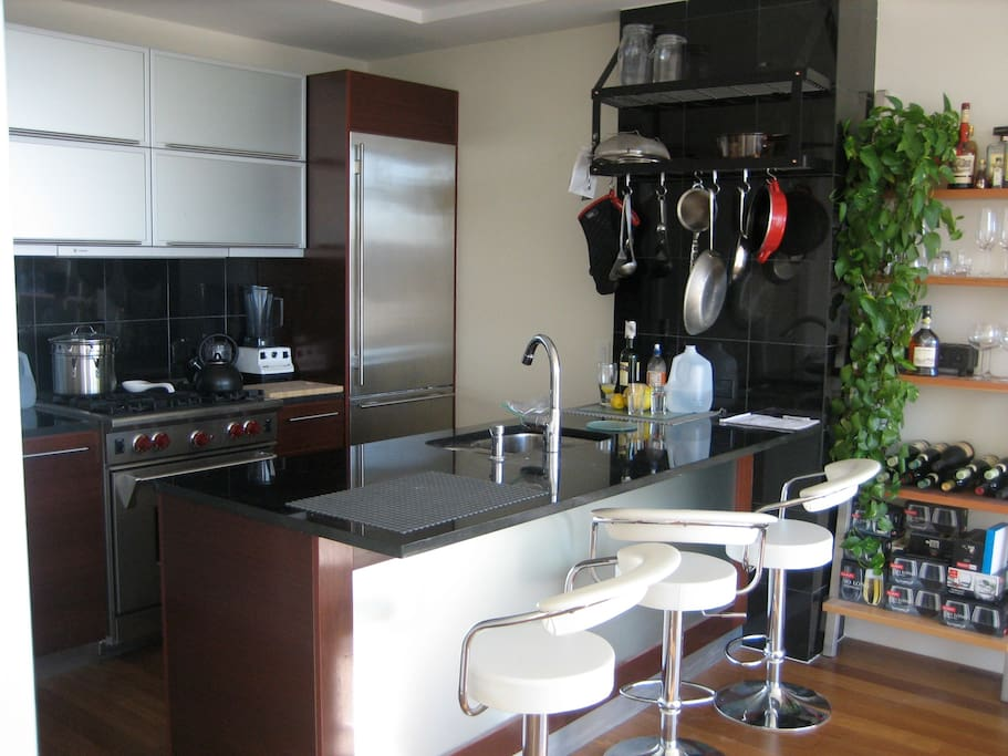 kitchen off the living room-you have full access