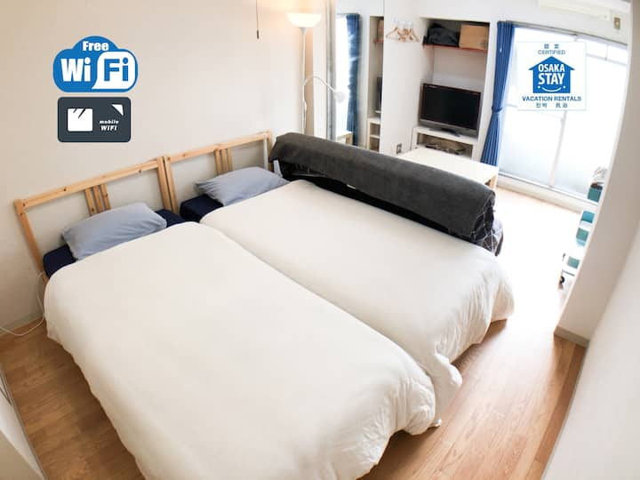 ☆Near Namba(5mins by train)☆Free WIFI☆403☆