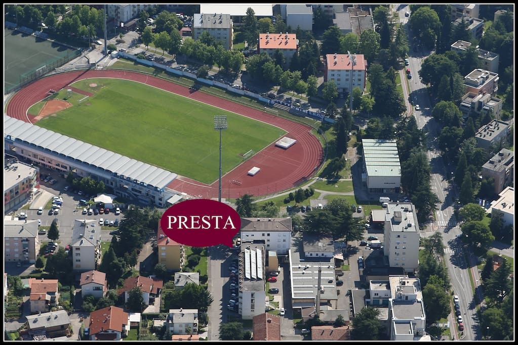 Bird's eye view of Presta Dorm in Nova Gorica, Slovenia
