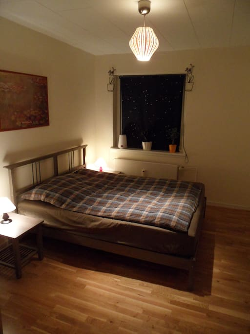 The room for rent, with a big ergonomic double-bed.