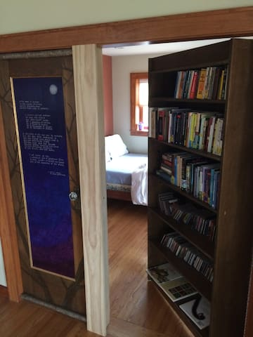 The Library Room with its secret bookcase entrance.