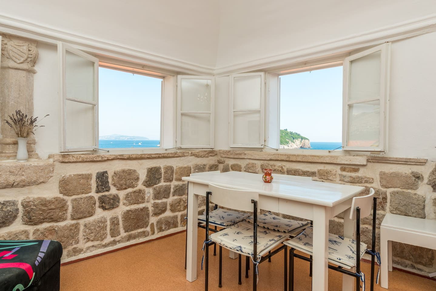 The living room overlooking the city walls provides a fantastic view.