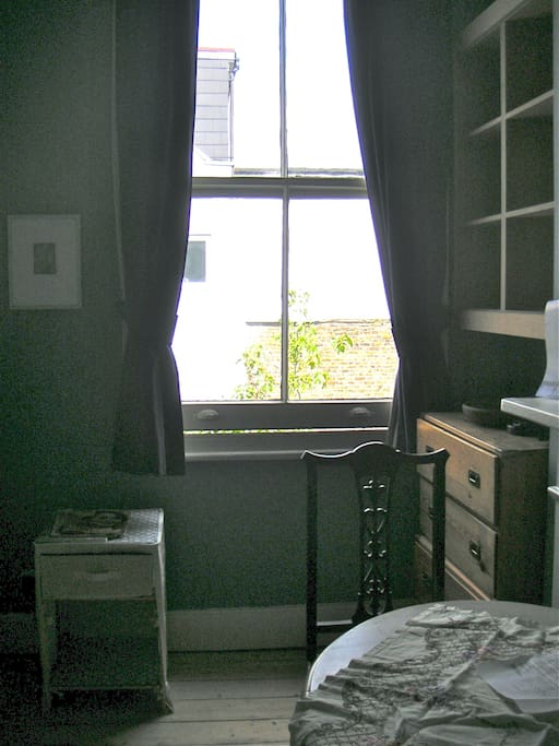 "This is the window of the ""Blue"" Bedroom which looks over the Garden"