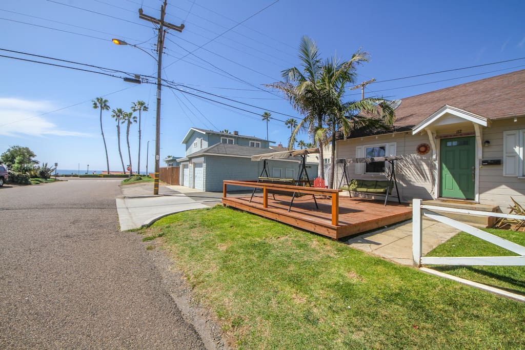You can relax on the patio swing and feel the ocean breeze. Short walk to beach!
