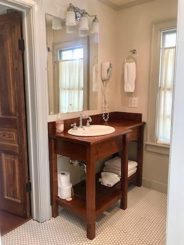 Walnut vanity built from a tree felled at the Bingham School