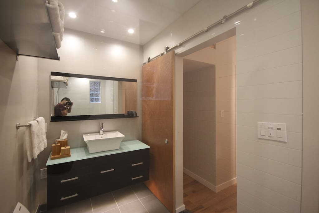 Bathroom is huge, clean and newly renovated.