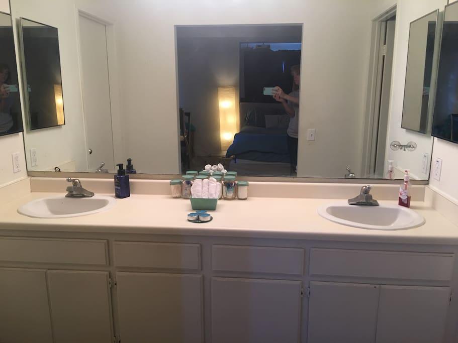 Dual-Vanity Sinks with Private Restroom