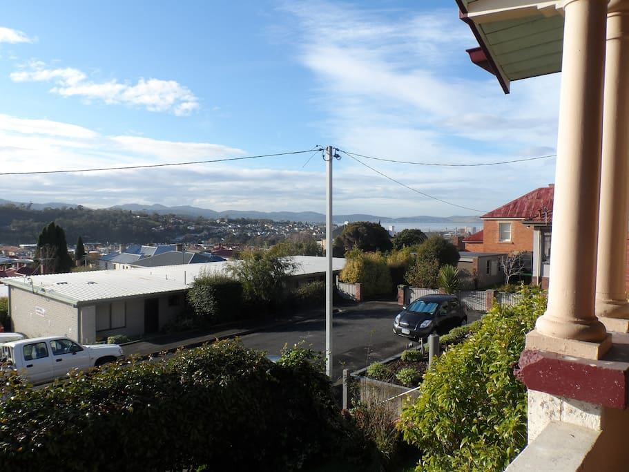 Looking down towards the city and Derwent river