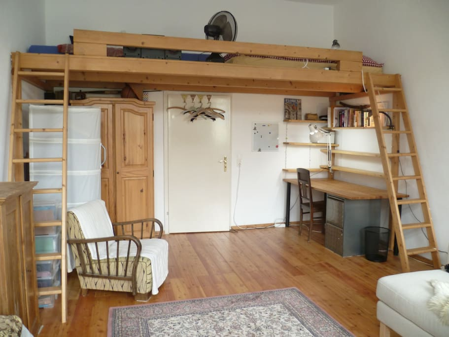 The mezzanine / high sleeper bed, two people can sleep there.