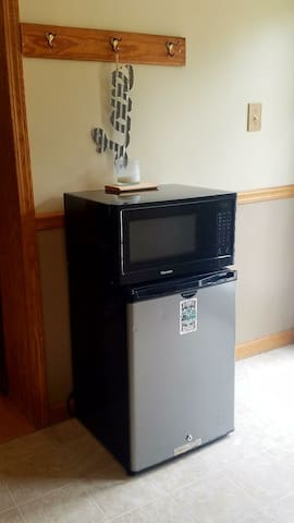 Microwave and Mini Fridge in Entranceway
