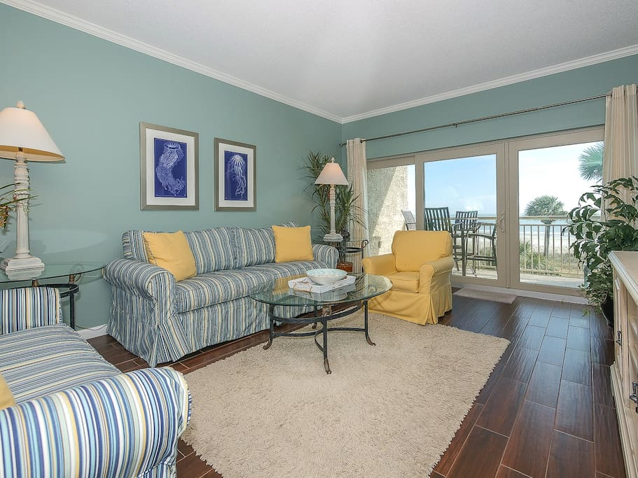 Living Room with Ocean Views at 473 Captain`s Walk
