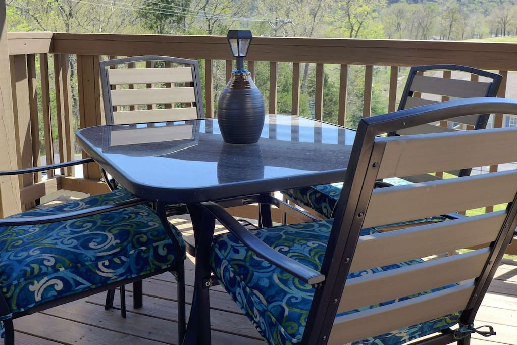 Private Deck with New Table for Four.