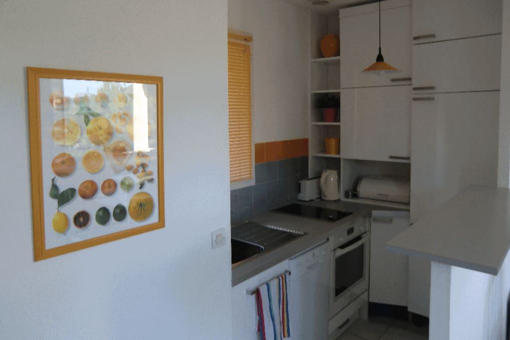 Cuisine équipée, avec four, lave vaisselle, frigo/congélateur, bouilloire, grille pain ...