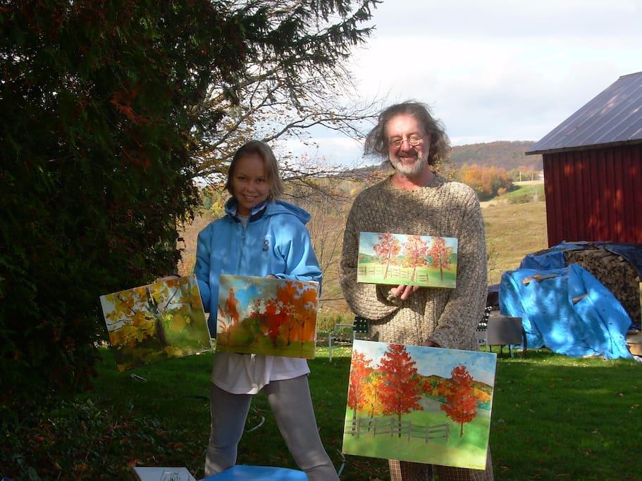 The farm is a great retreat for artists. 2 painter guests, autumn 2011