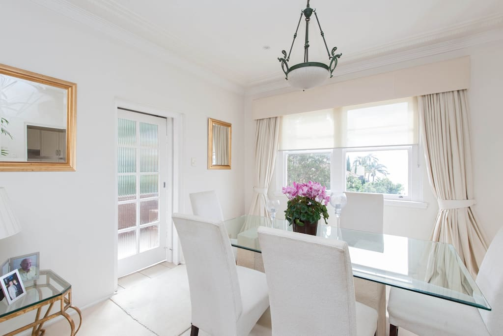 Separate dining room with harbour views
