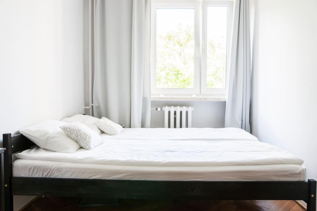 large (160x200) bed with spring mattress and fresh linen