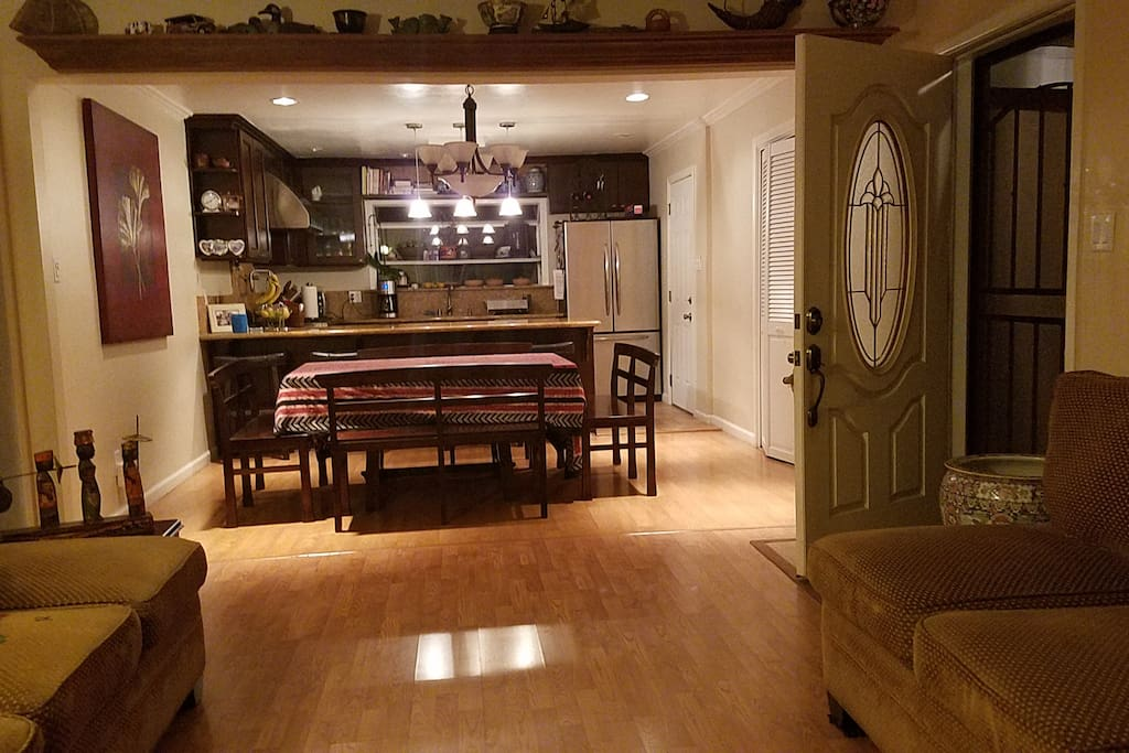 Open concept kitchen, dining and living space..