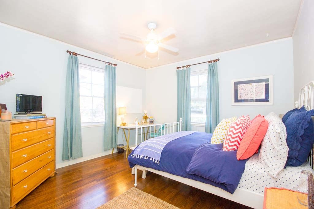 Santa Barbara Chic Bedroom (*note we have updated window coverings, dresser, toss pillows and the pattern on sheets change from visit to visit)