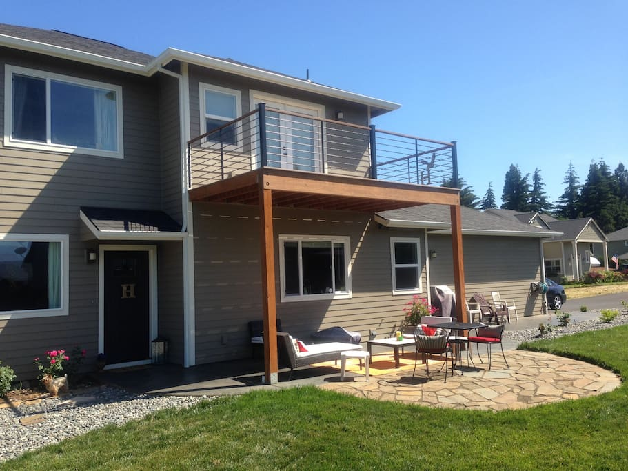 Outdoor patio includes gas BBQ and fire pit.  A great place to entertain.