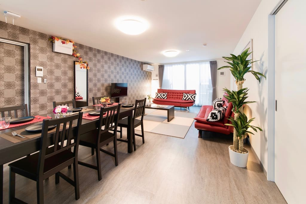 Large room! 110 square meters accommodation! 舒适的3BR房子