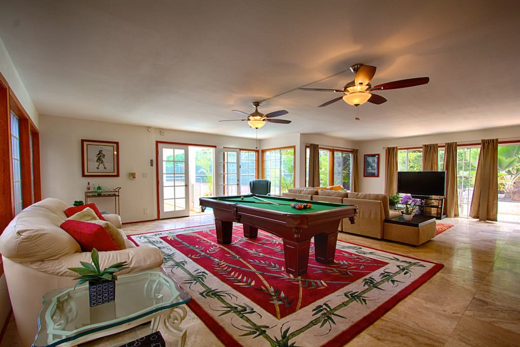 Large living area with pool table