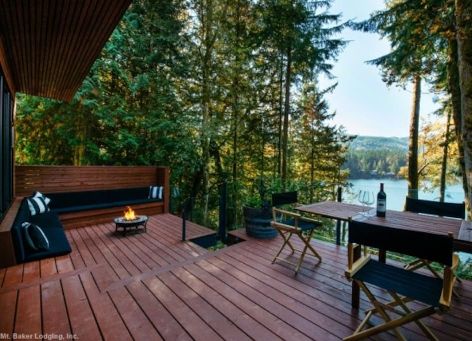 The deck with a gas fire pit