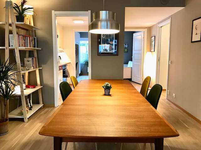 Dining table seats 8 comfortably