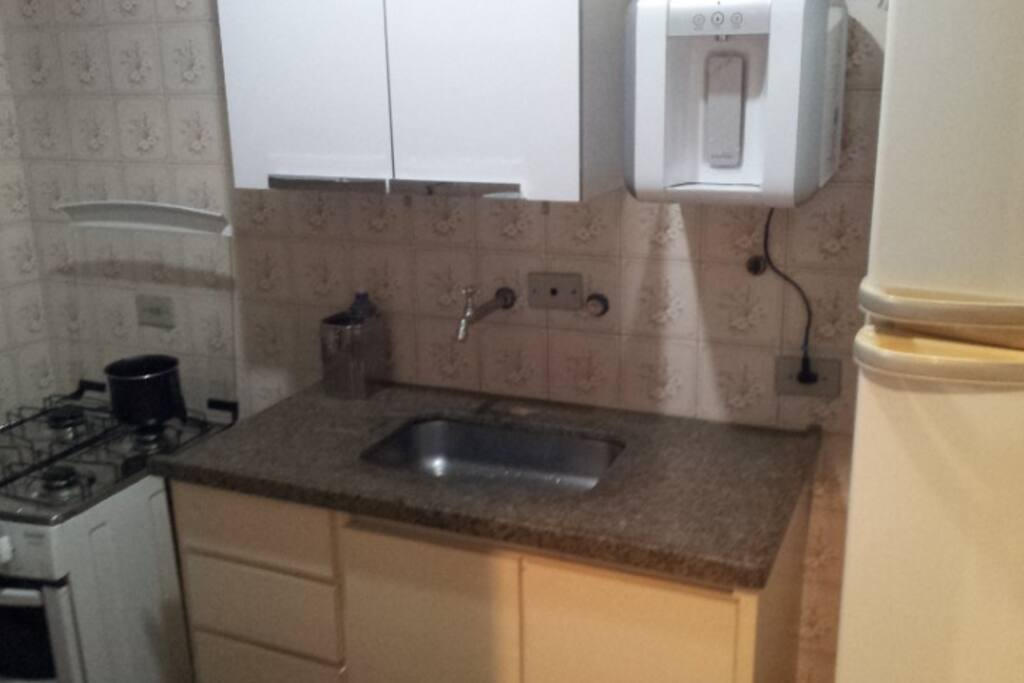 Kitchen, water filter, stove, sink, fridge, clothes washer