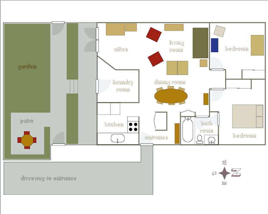 Apartment layout - not to scale but you get the general idea.