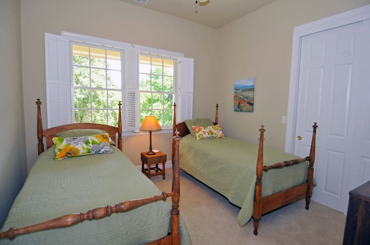 Green Valley Room - Second floor facing creek & sunrise.  Two twin beds.  Shares bathroom with Chardonnay Suite.