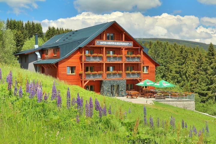 Studio v Hotelu Obzor na sjezdovce Hnědý vrch