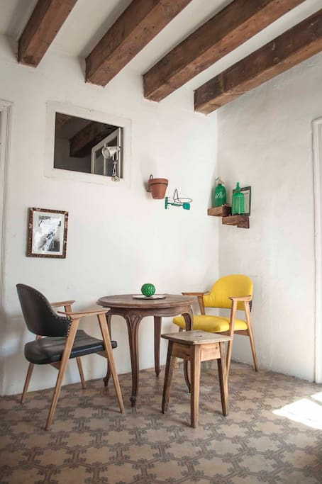 Dining area with vintage chairs