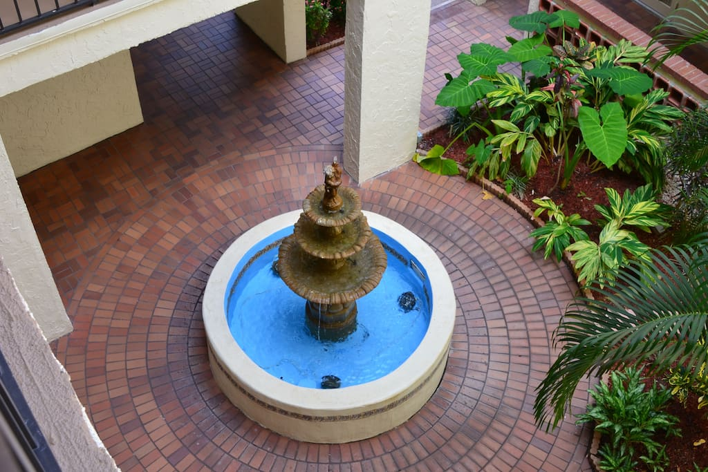 Fountain in outside lobby of building