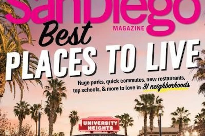 Voted one of the best neighborhoods in  San Diego, University Heights boasts shops, restaurants, salons, parks, and is close to downtown, major freeways, and more.    Learn more: https://en.wikipedia.org/wiki/University_Heights,_San_Diego