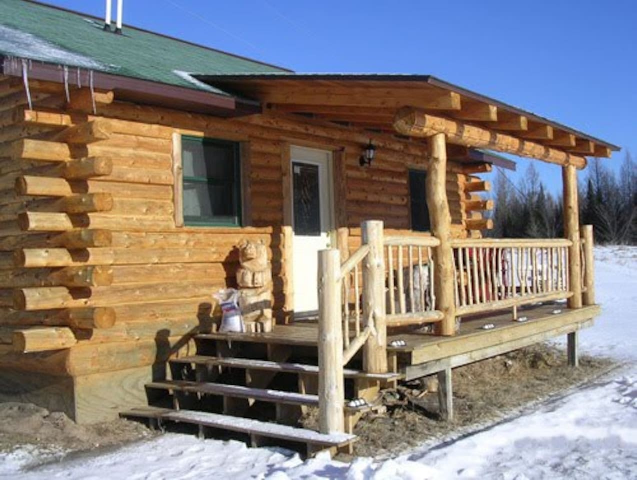Hand-crafted log cabin in Nicolet National Forest