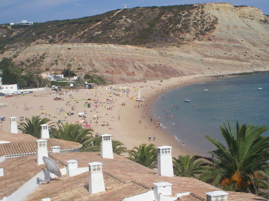 view of Praia da Luz beach from top of building