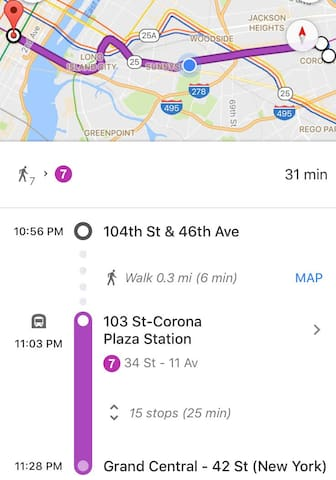Directions and average travel time from our home to Manhattan (NYC)