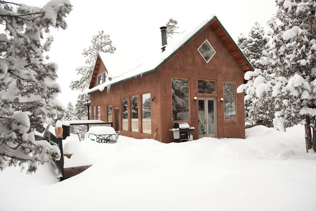 Las posadas El Salto after a big winter snowstorm. Just another great powder day in Northern New Mexico.