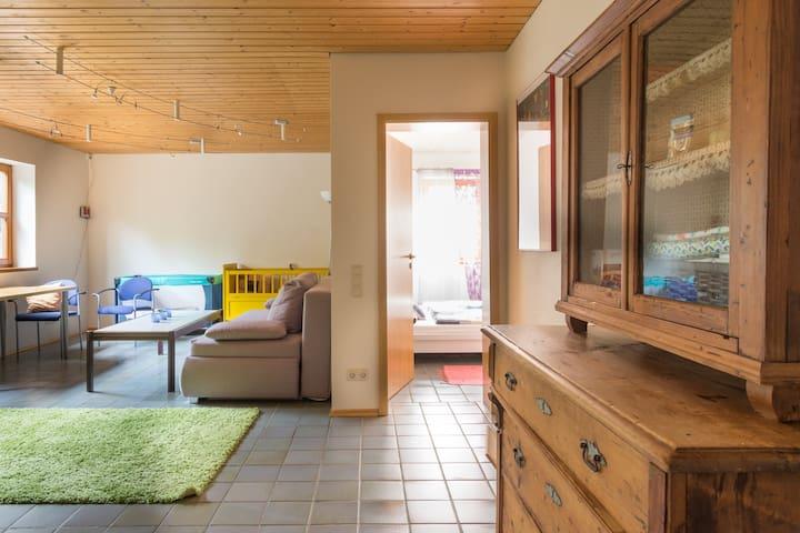 Wohnzimmer mit Schlafcouch, wenn ihr mehr als 2 Personen seid. 2 Kinderbetten stehen ebenfalls zur Verfügung
