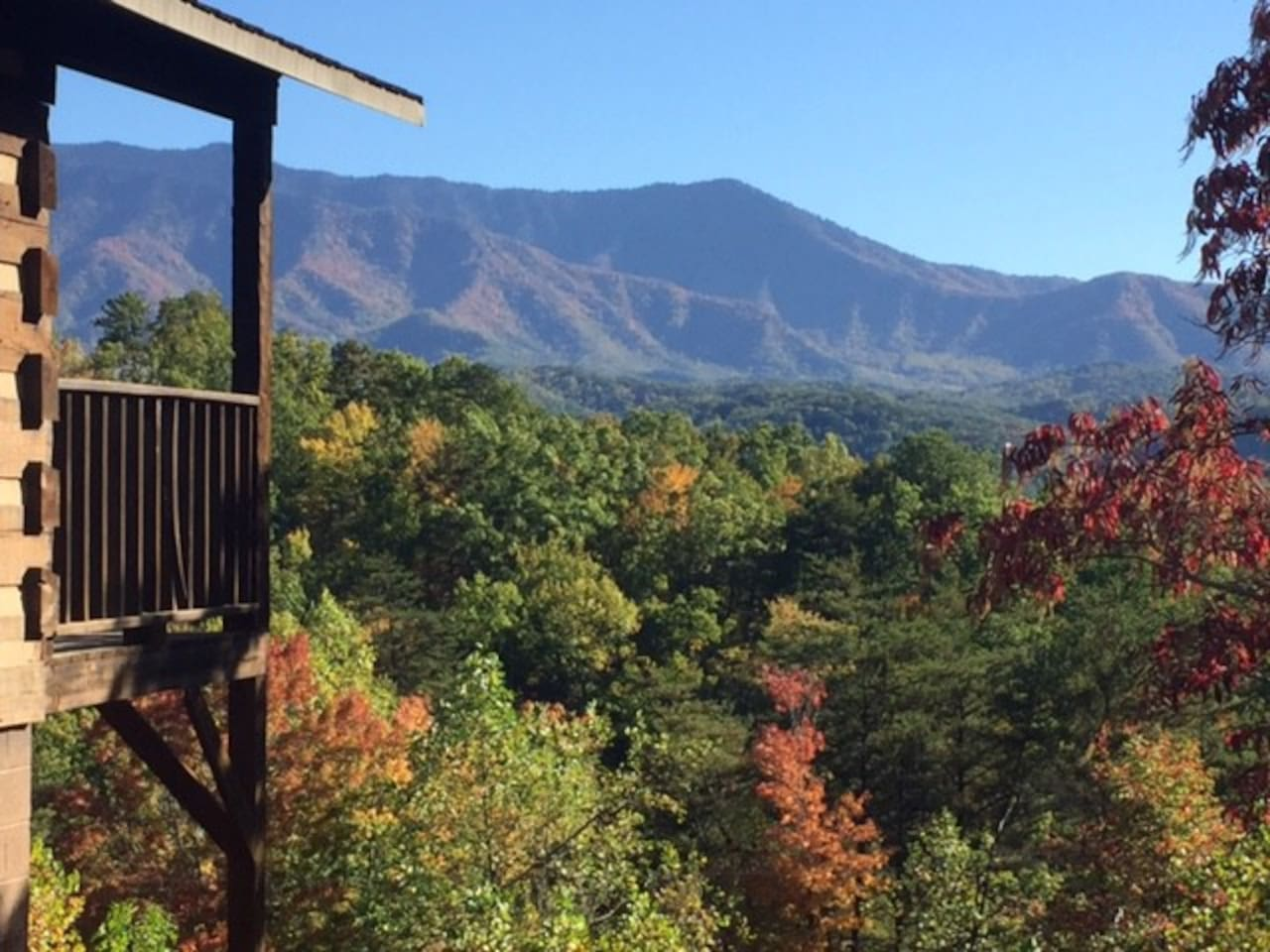 Majestic mountain view and leaves changing from deck