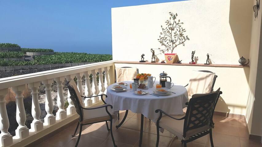 Sea views from breakfast  terrace.