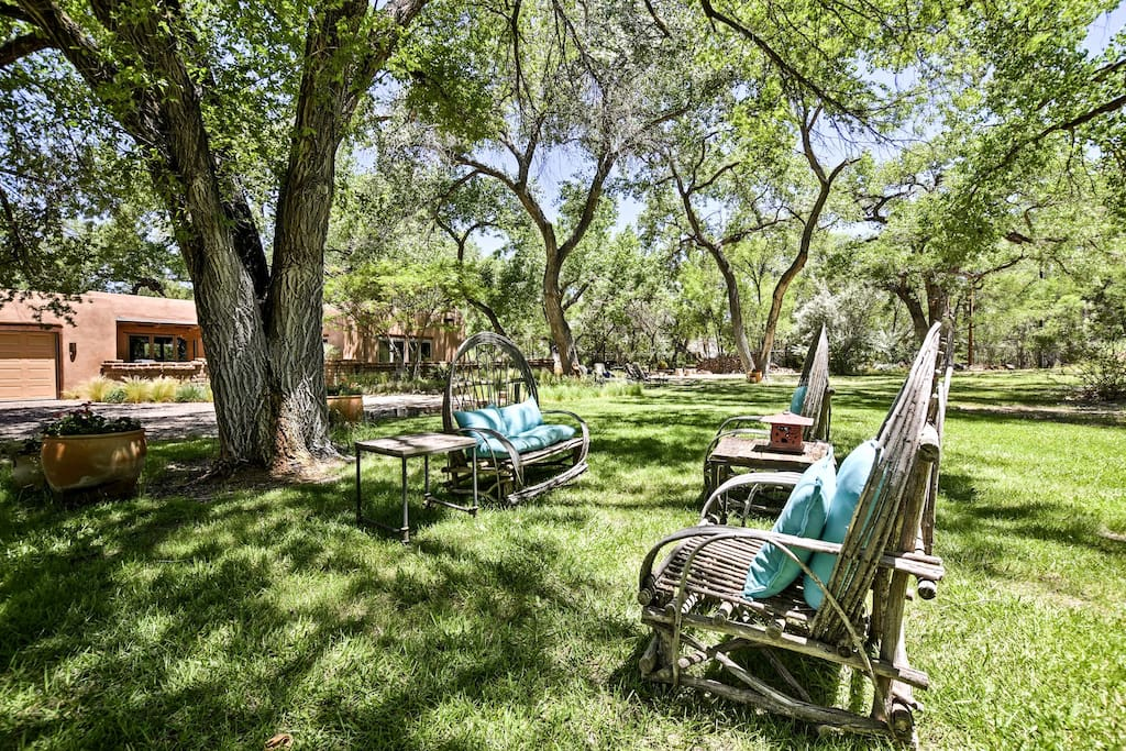 Enjoy sunshine or shade in this gorgeous backyard.