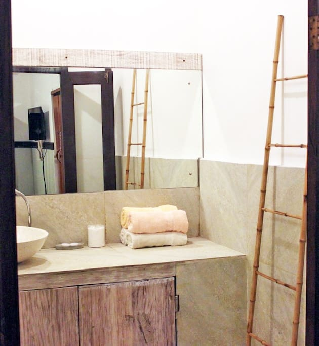 Beautiful granite bathroom vanity with All Towels, Sheets, Linens, Soap are provided.