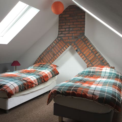 Twin bedroom located in recently renovated loft conversion.