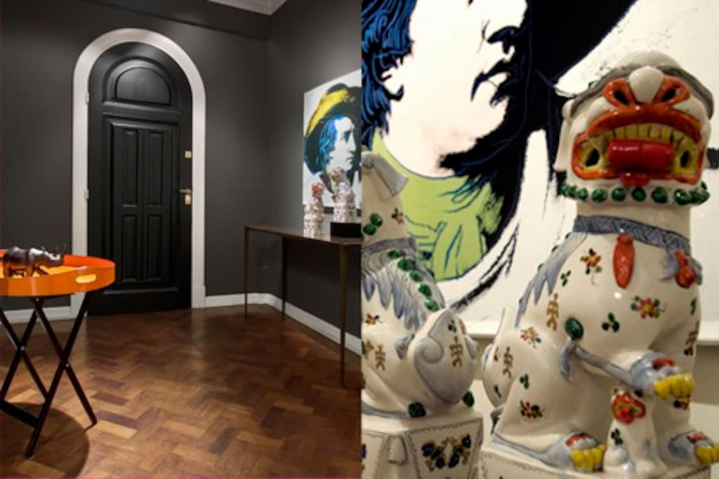 Entrance Hall with accessories from Hermes and artwork by Andy Warhol.