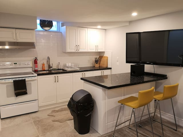 Newly renovated apartment w/pkg 15min from airport
