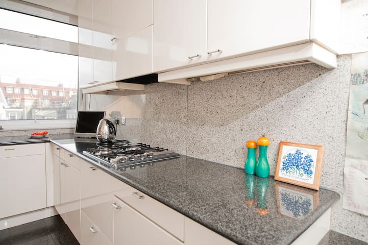 Kitchen with views over Mayfair rooftops