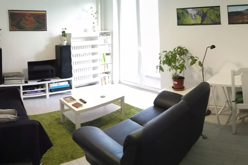 Living room with vinyl players, PS3,guitar and tv. Sofa can be used as an extra bed